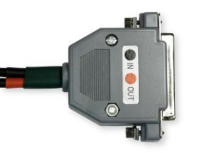 Upper side of serial port DB25 plug.